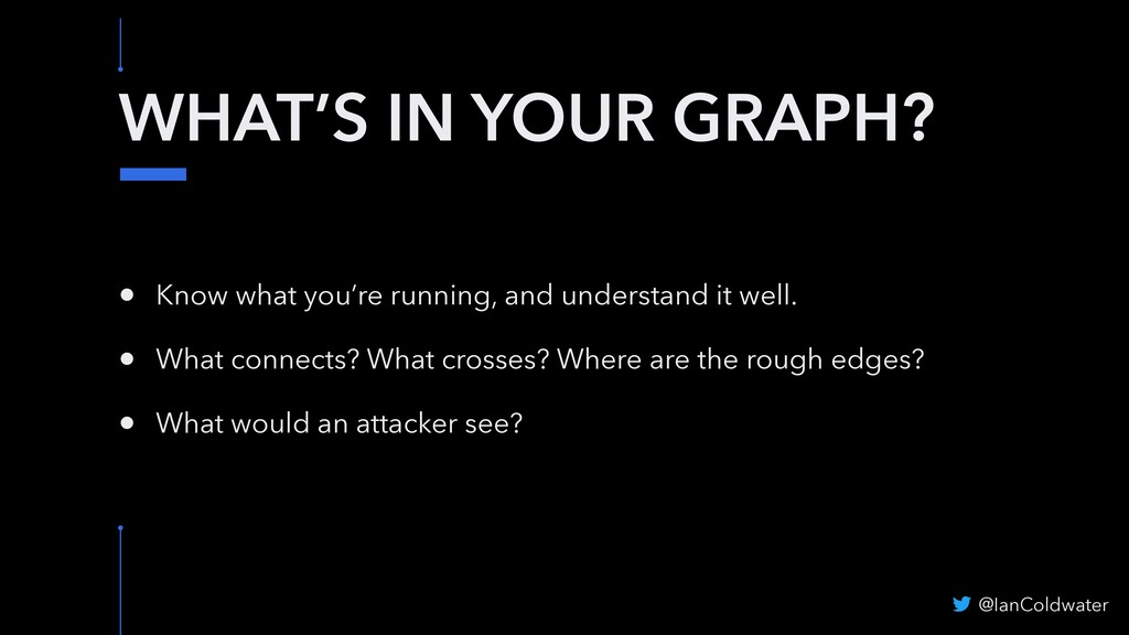 WHAT'S IN YOUR GRAPH? • Know what you're runnin...