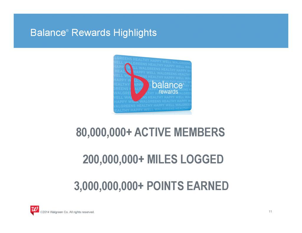 Balance® Rewards Highlights 11 ©2014 Walgreen C...