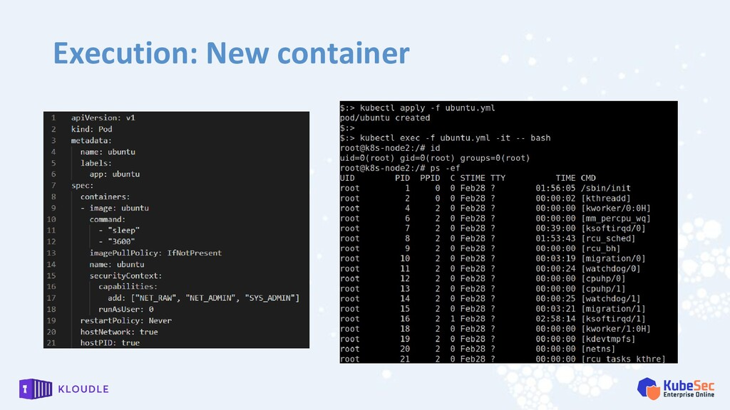 Execution: New container
