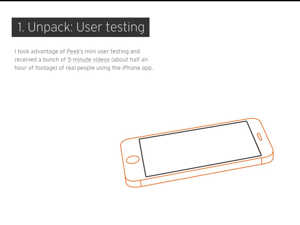 1. Unpack: User testing I took advantage of Pee...