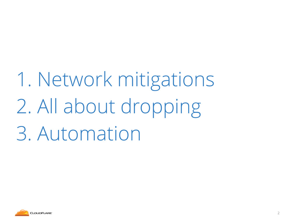 1. Network mitigations 2. All about dropping 3....