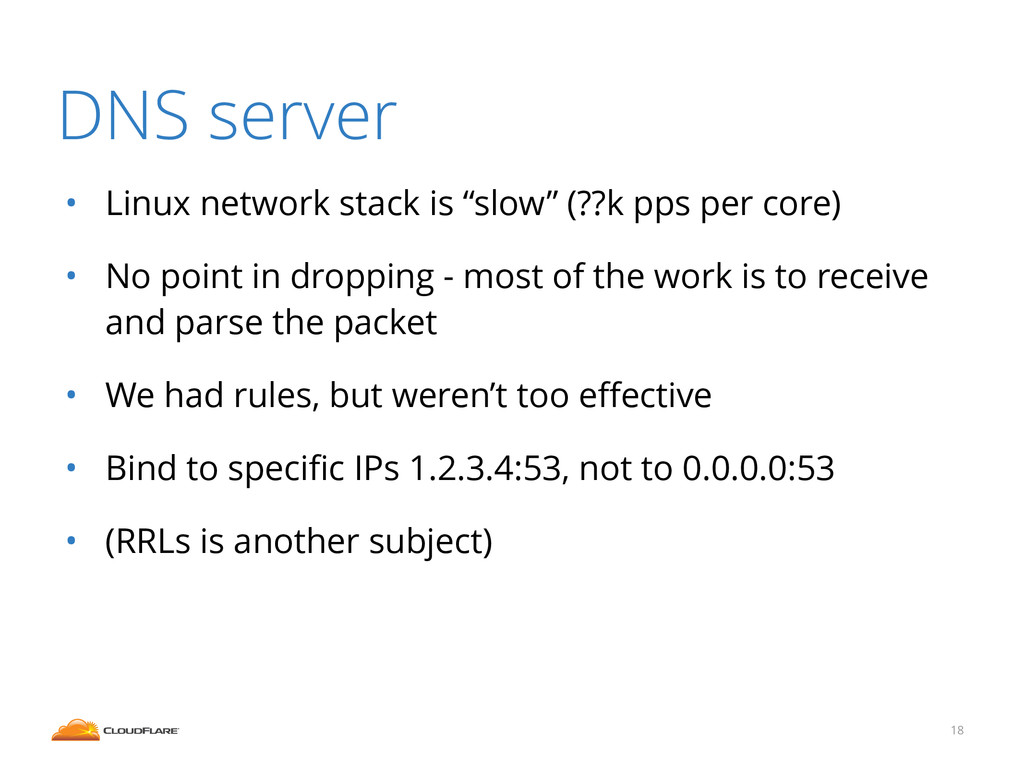 """DNS server • Linux network stack is """"slow"""" (??k..."""