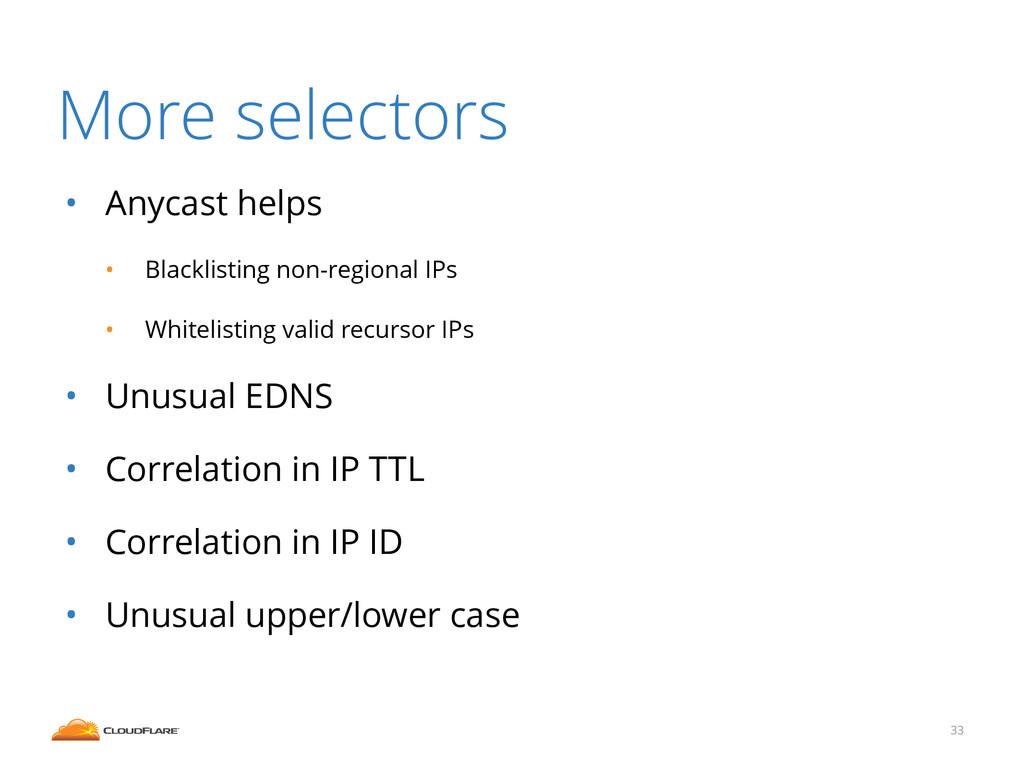 More selectors • Anycast helps • Blacklisting n...