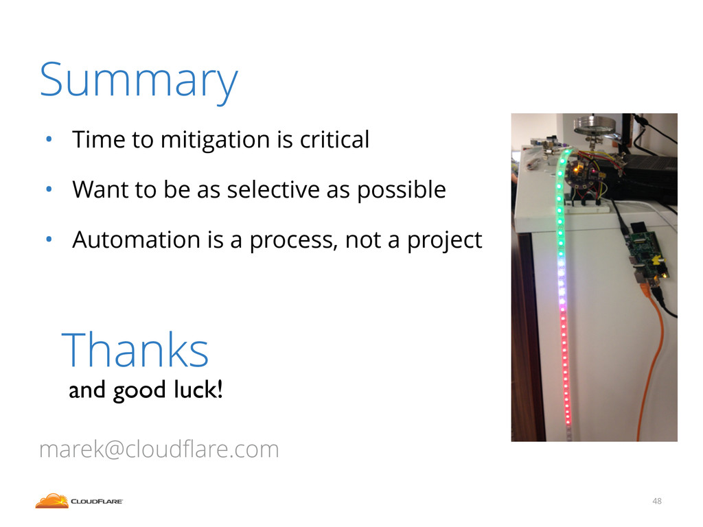Summary • Time to mitigation is critical • Want...
