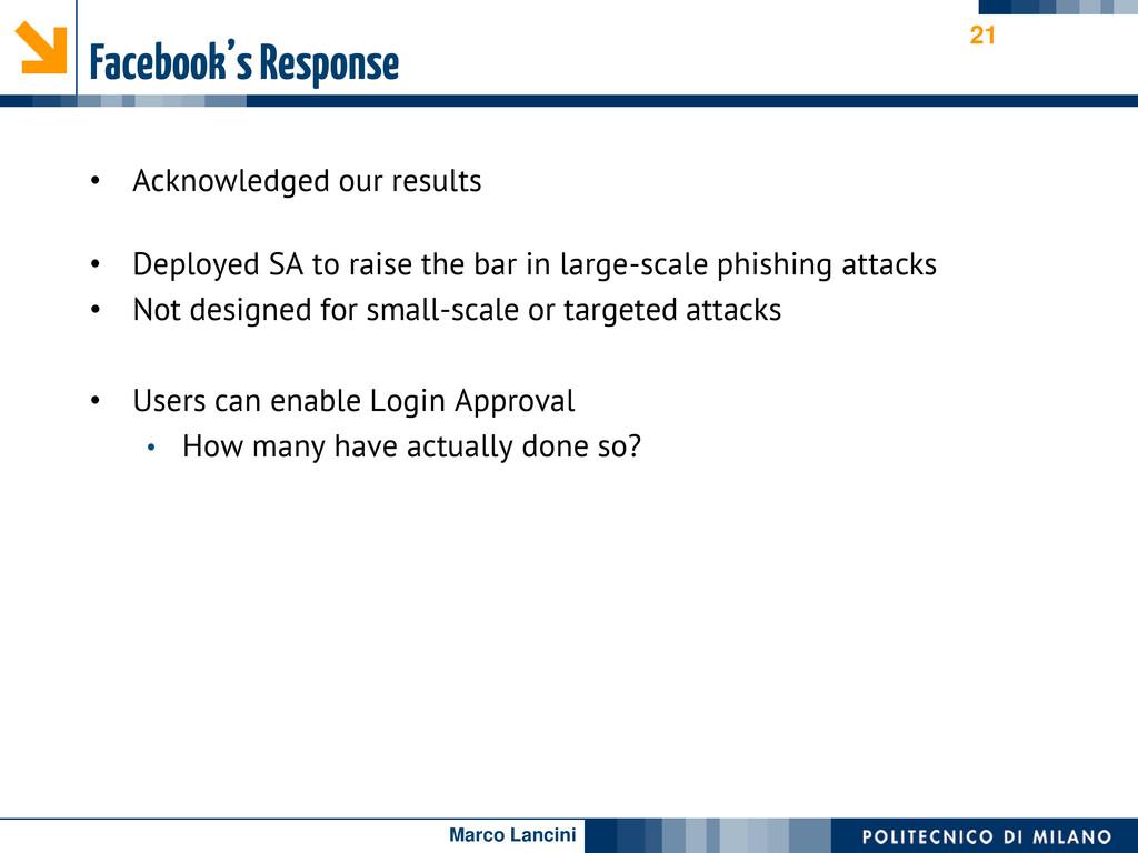 Marco Lancini Facebook's Response • Acknowledge...