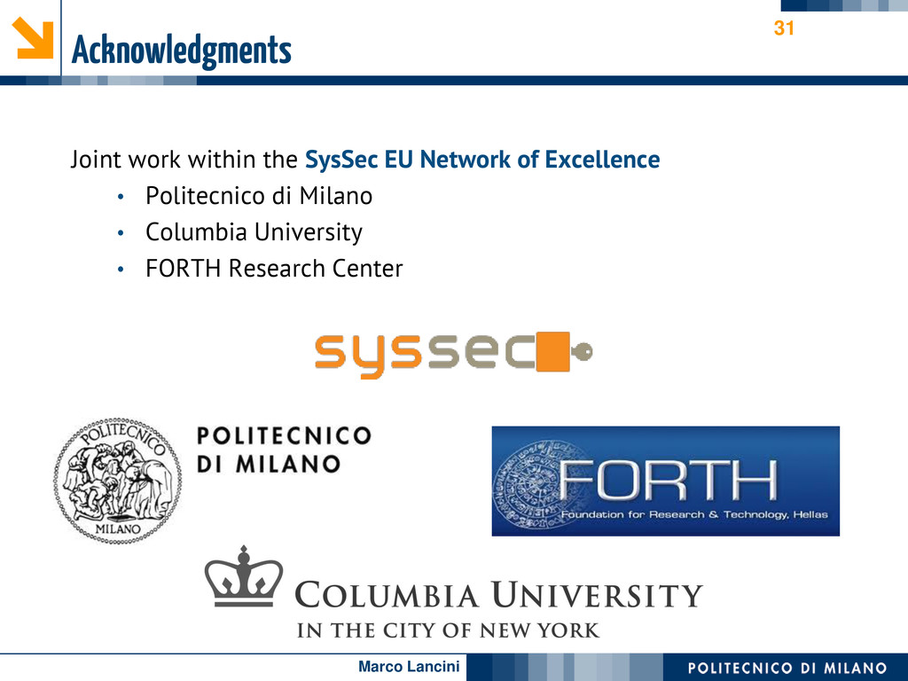 Marco Lancini Acknowledgments Joint work within...