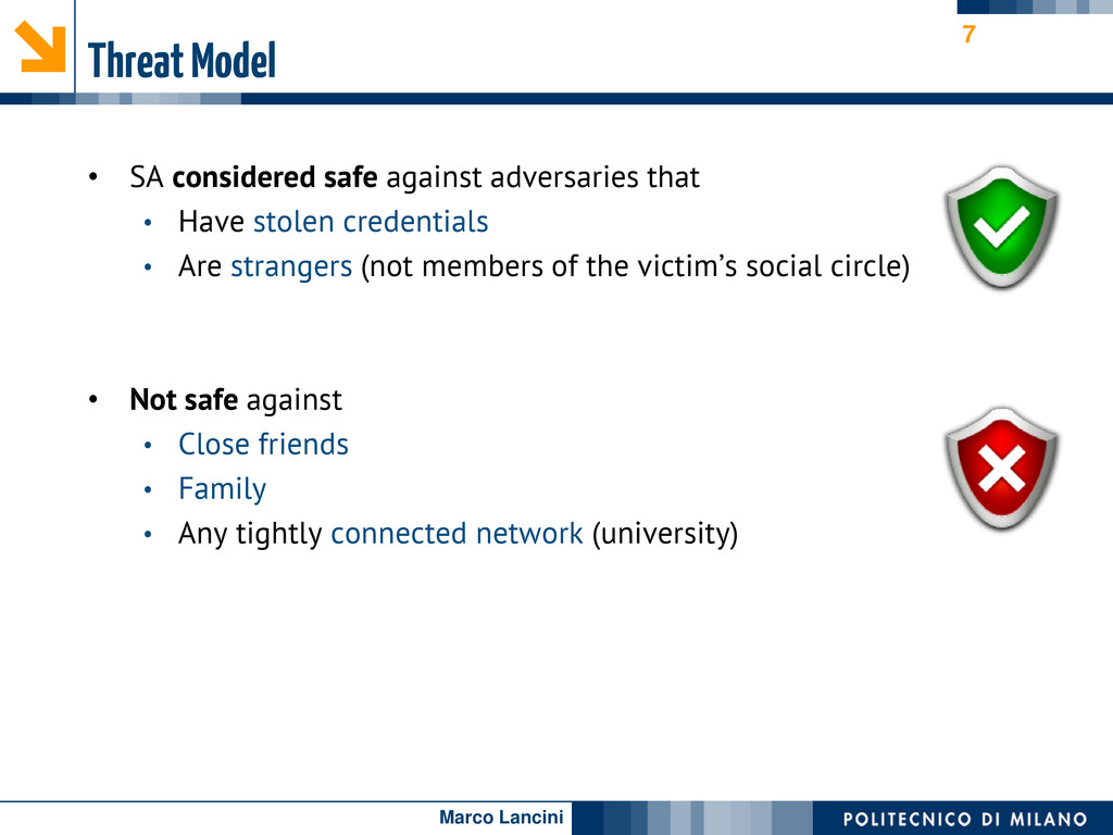 Marco Lancini Threat Model • SA considered safe...