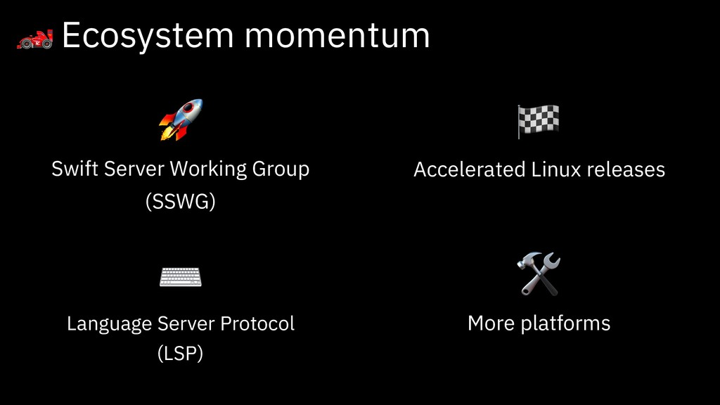 Ecosystem momentum  Swift Server Working Group...