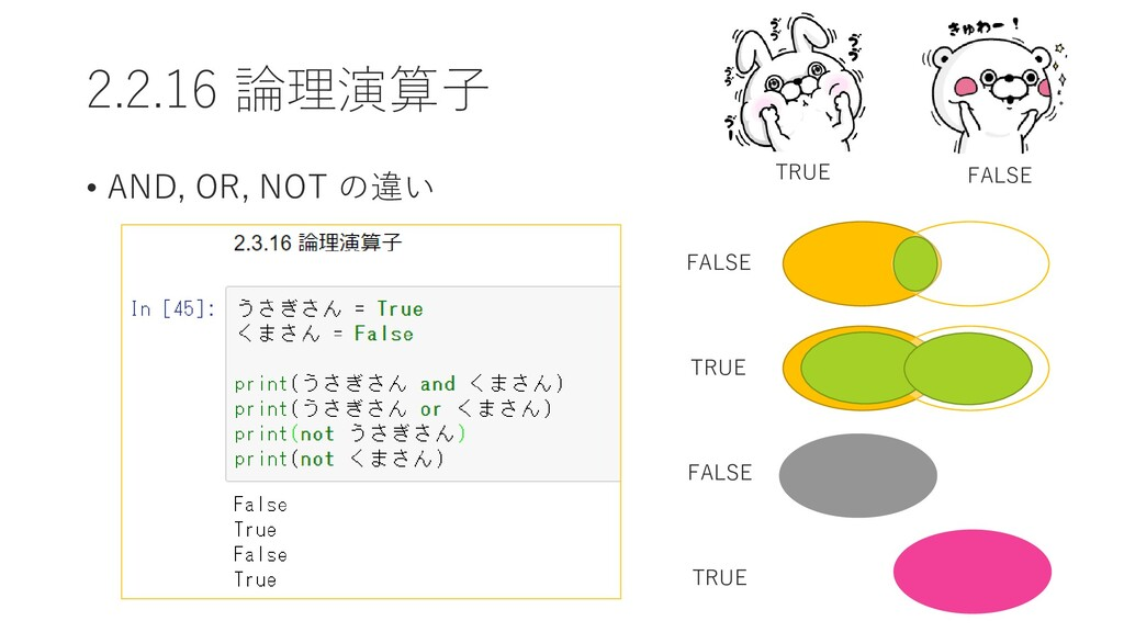 2.2.16 論理演算子 • AND, OR, NOT の違い TRUE FALSE FALS...