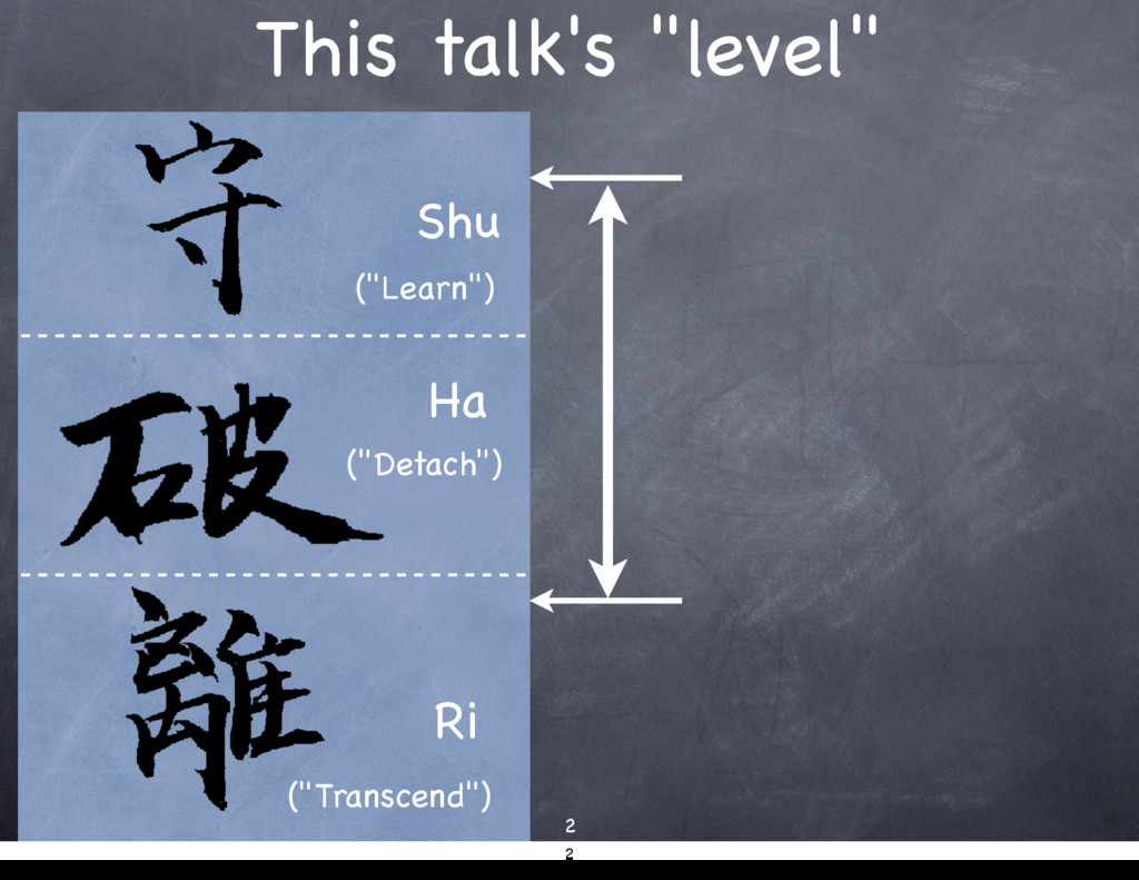 "This talk's ""level"" 2 Shu Ha Ri (""Learn"") (""Det..."