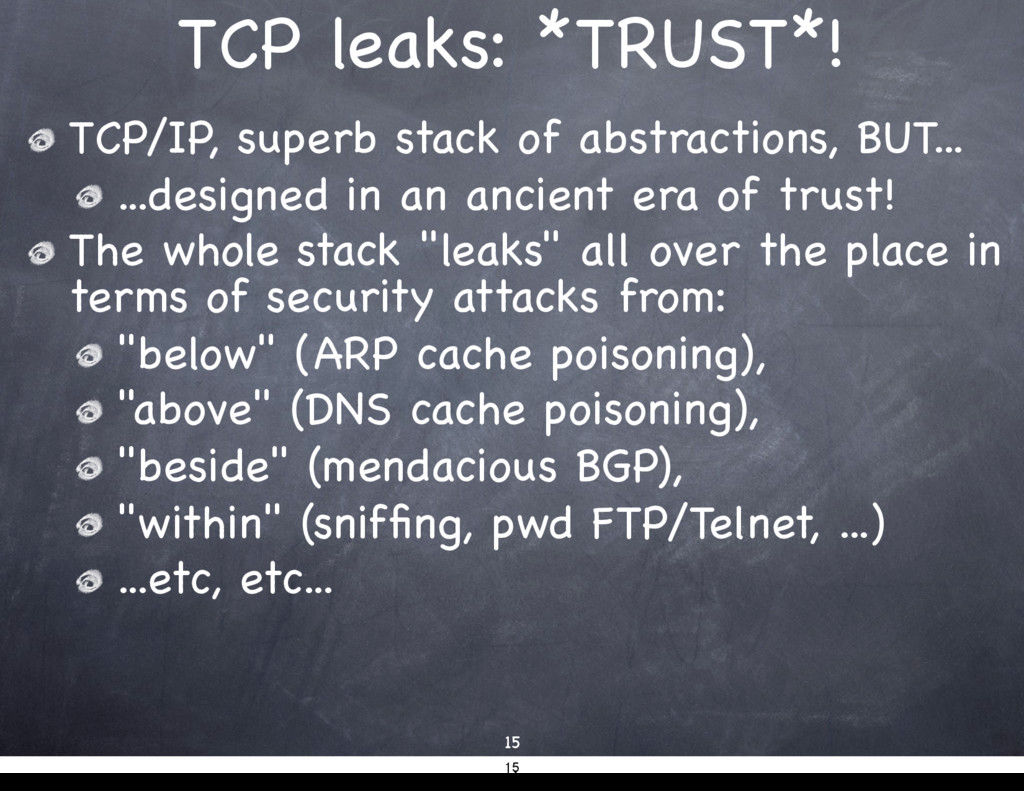 TCP leaks: *TRUST*! 15 TCP/IP, superb stack of ...