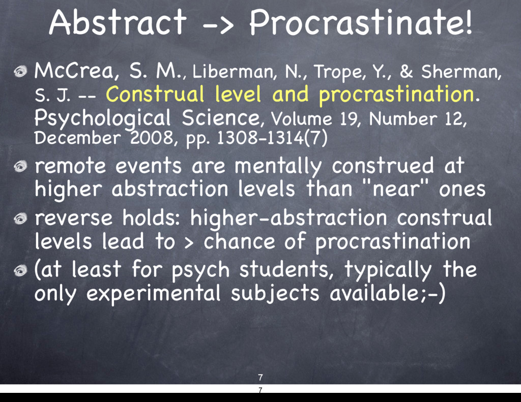 Abstract -> Procrastinate! McCrea, S. M., Liber...