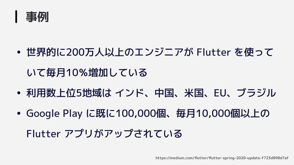 • 世界的に200万人以上のエンジニアが Flutter を使って いて毎月10%増加している...