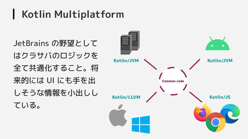 JetBrains の野望として はクラサバのロジックを 全て共通化すること。将 来的には U...