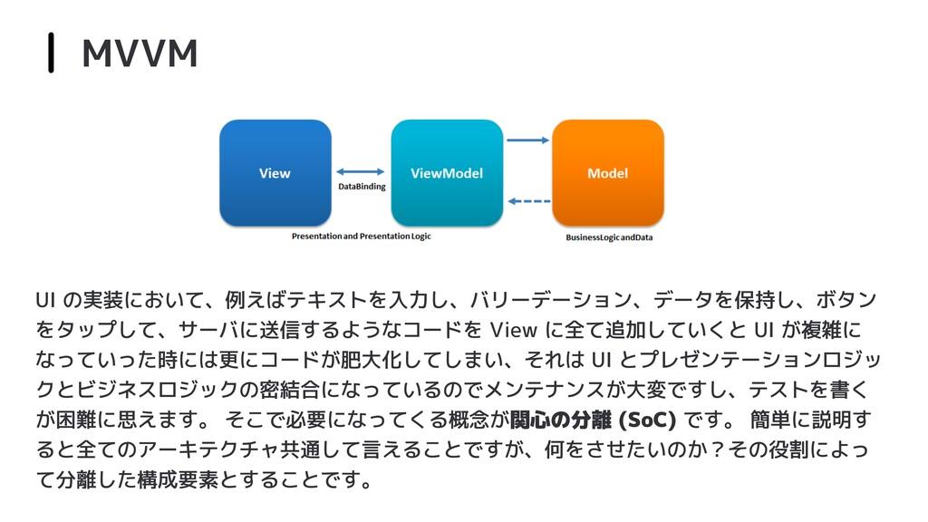 MVVM UI の実装において、例えばテキストを入力し、バリーデーション、データを保持し、ボタ...
