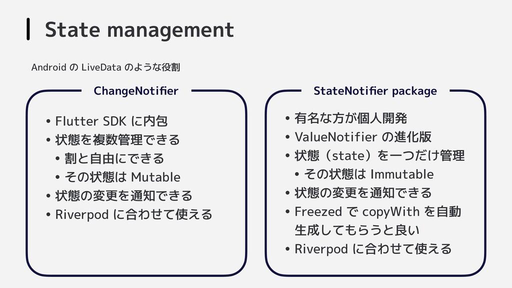 State management  ChangeNotifier   StateNotifier ...