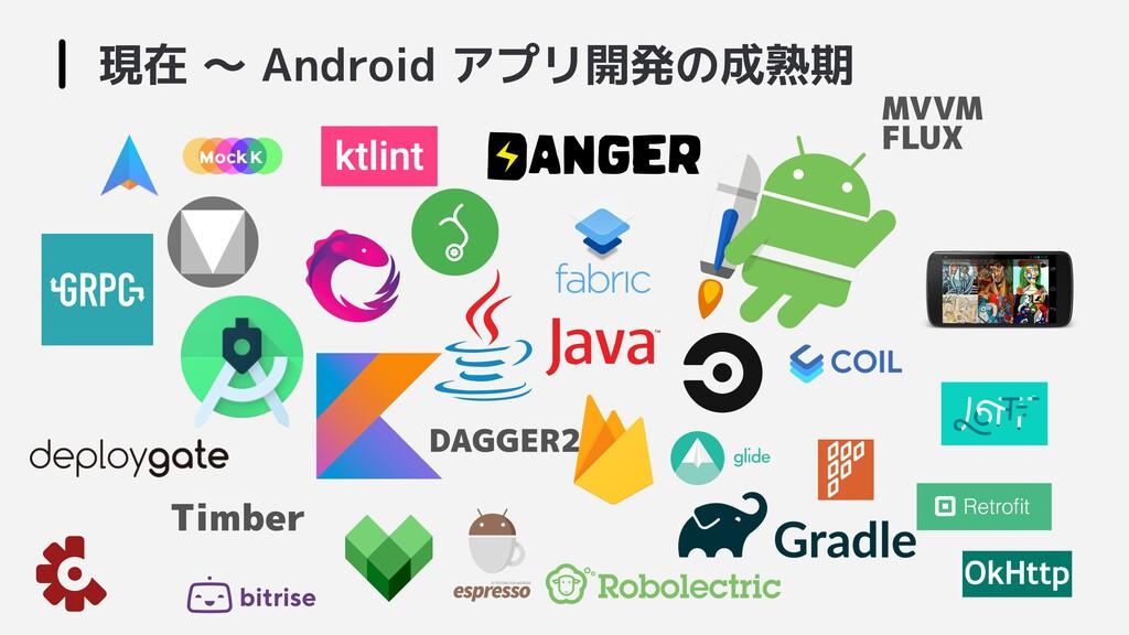 現在 〜 Android アプリ開発の成熟期  DAGGER2 MVVM FLUX Timber
