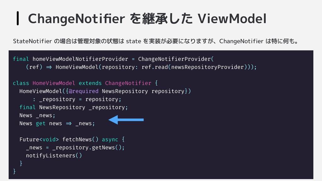 ChangeNotifier を継承した ViewModel final homeViewMod...