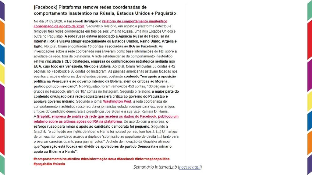Semanário InternetLab (acesse aqui)