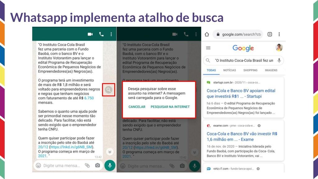 Whatsapp implementa atalho de busca