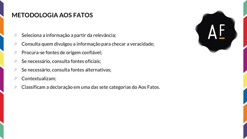 METODOLOGIA AOS FATOS Seleciona a informação a ...