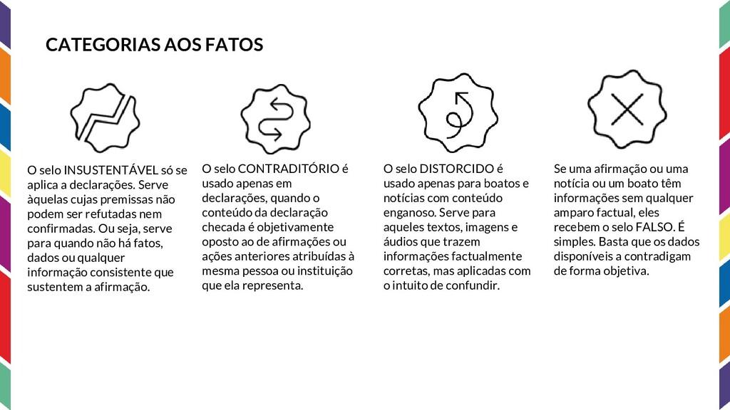 CATEGORIAS AOS FATOS O selo INSUSTENTÁVEL só se...