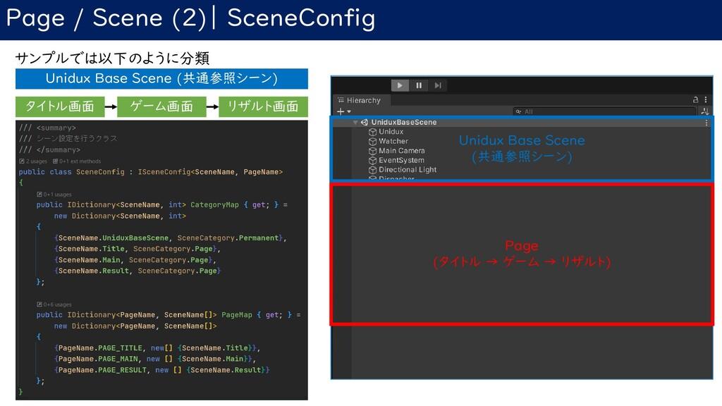 Page / Scene (2)| SceneConfig サンプルでは以下のように分類 Un...