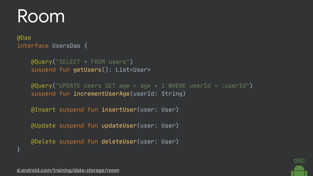"""@Dao  interface UsersDao {  @Query(""""SELECT * FR..."""