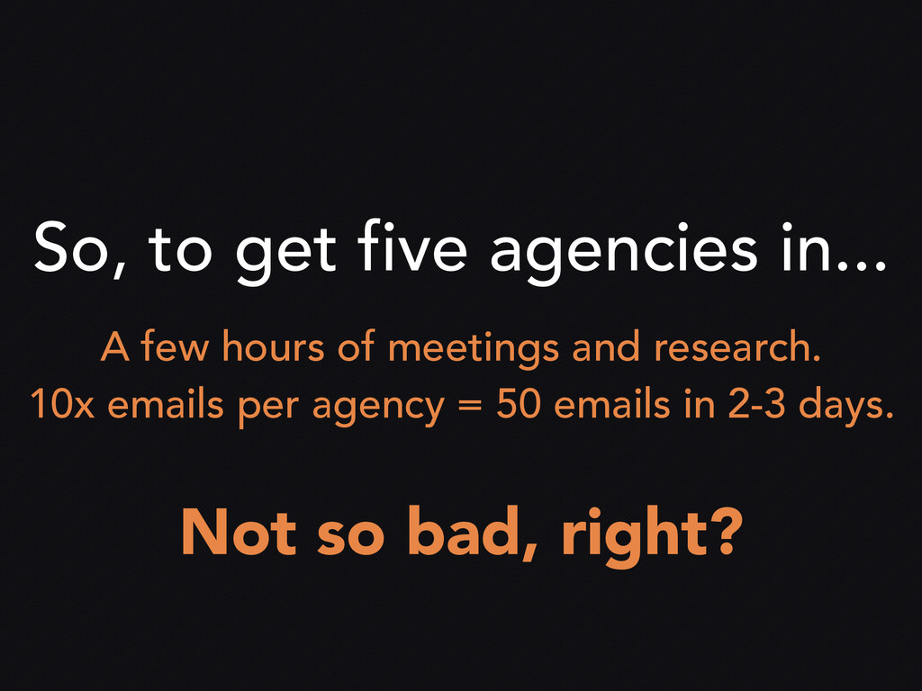 So, to get five agencies in... A few hours of m...