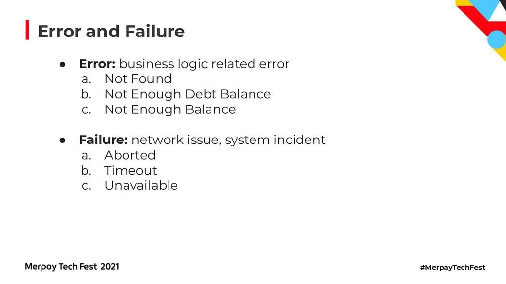 #MerpayTechFest ● Error: business logic related...