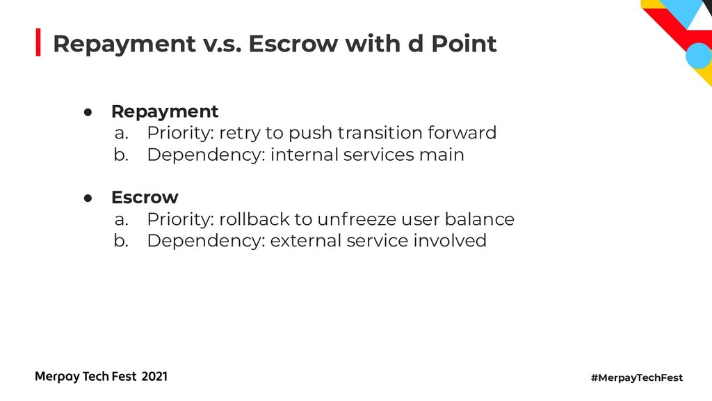 #MerpayTechFest Repayment v.s. Escrow with d Po...