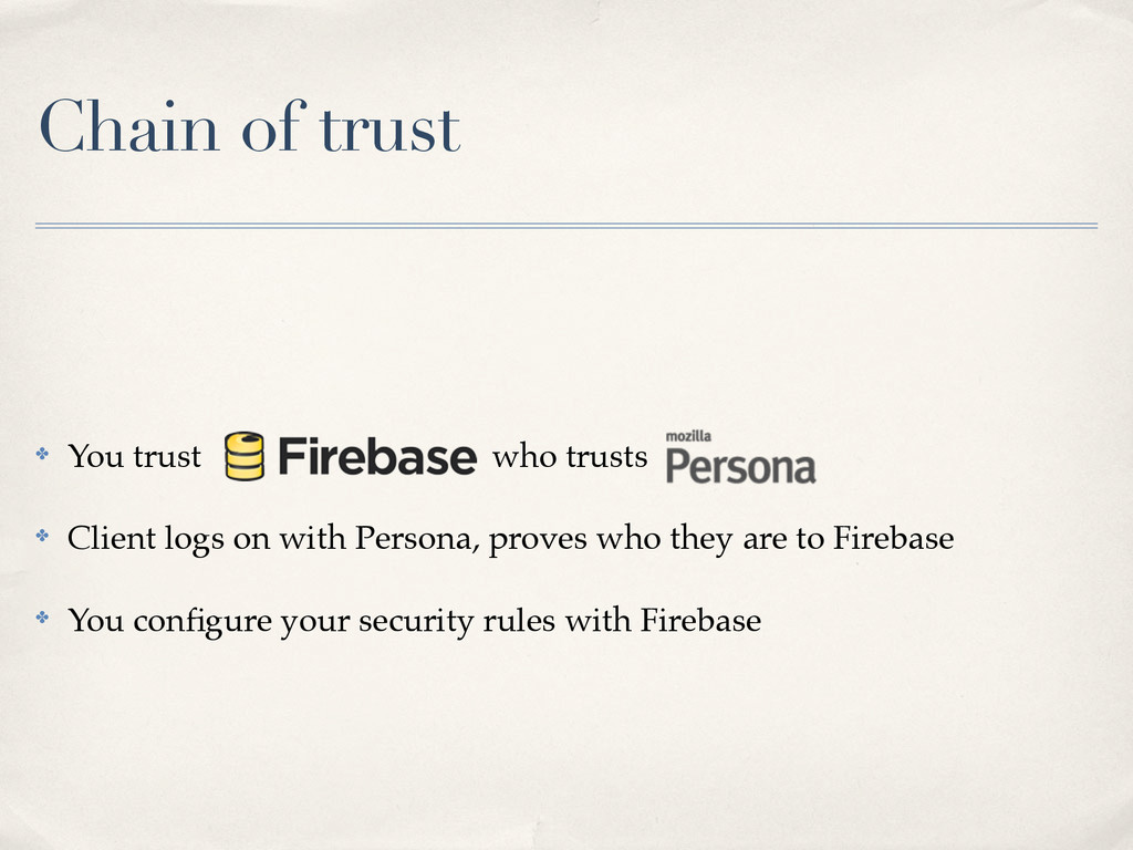 Chain of trust ✤ You trust who trusts ✤ Client ...