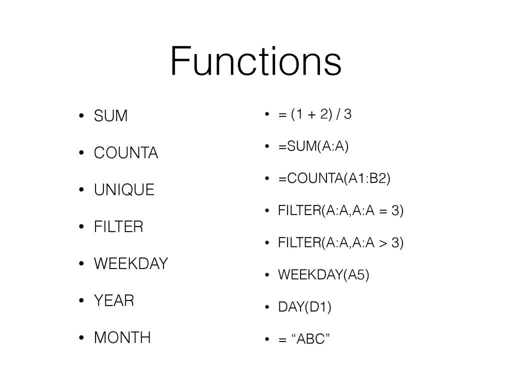 Functions • SUM • COUNTA • UNIQUE • FILTER • WE...