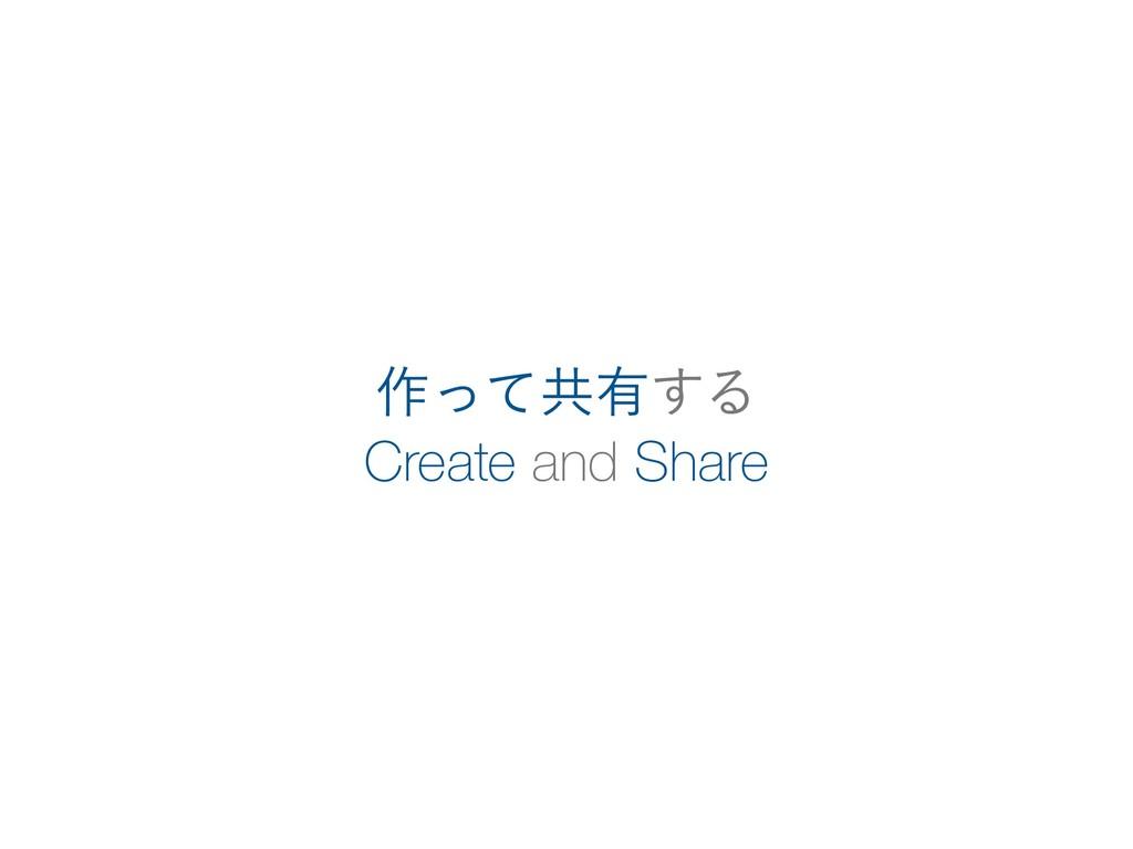Create and Share ࡞ͬͯڞ༗͢Δ