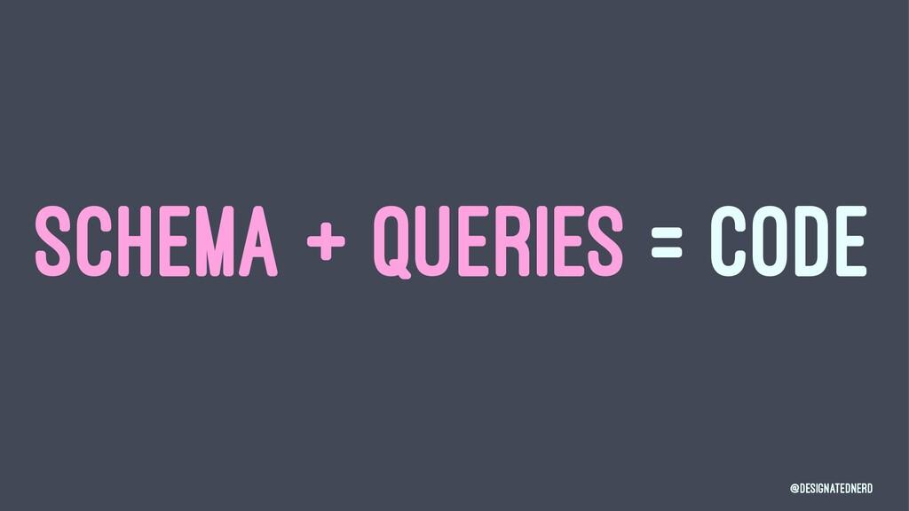 SCHEMA + QUERIES = CODE @DesignatedNerd