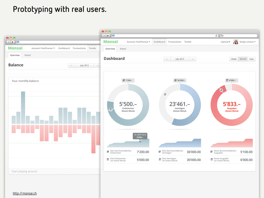 Prototyping with real users. http:/ /monsai.ch