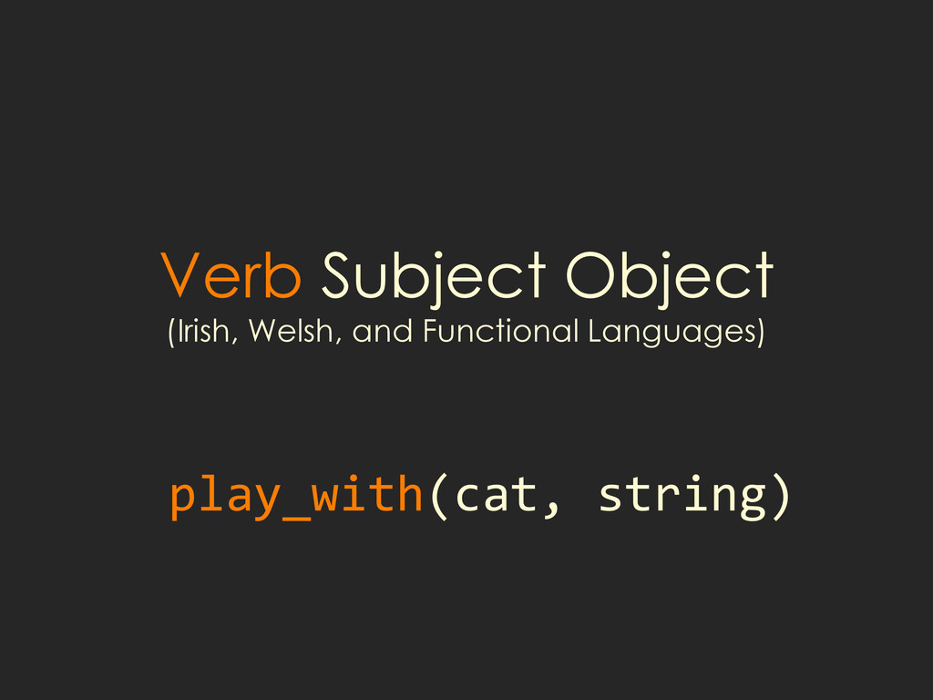 Verb Subject Object (Irish, Welsh, and Function...