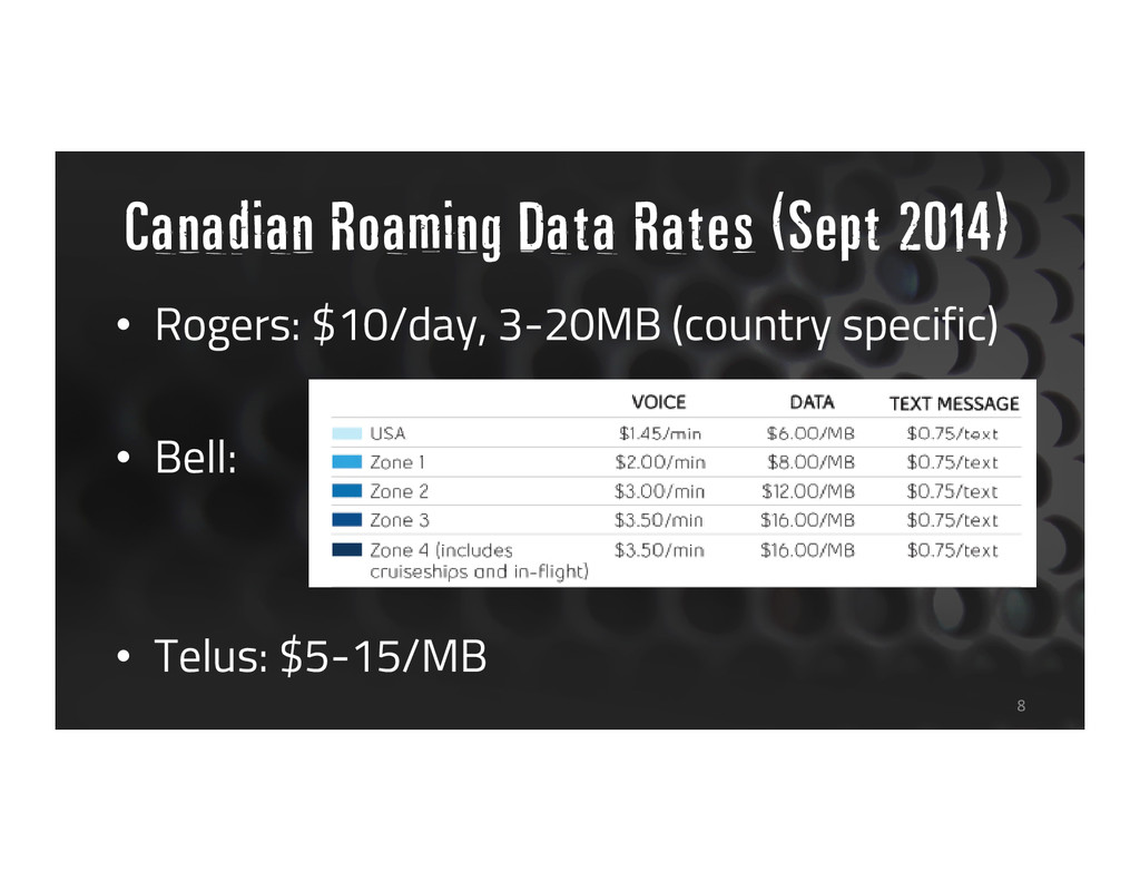 • Rogers: $10/day, 3-20MB (country specific) • ...