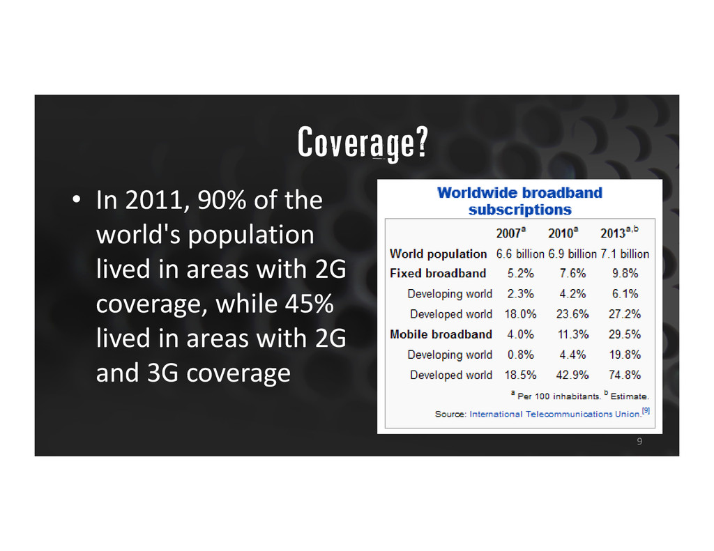 """Coverage? 9 • In 2011, 90% of the world's popu..."