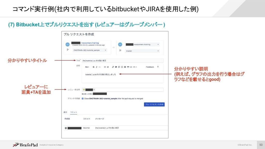 ©BrainPad Inc. (7) Bitbucket上でプルリクエストを出す (レビュアー...