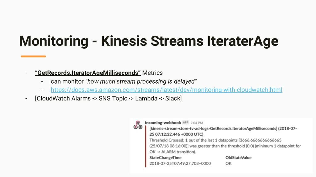 "Monitoring - Kinesis Streams IteraterAge - ""Get..."