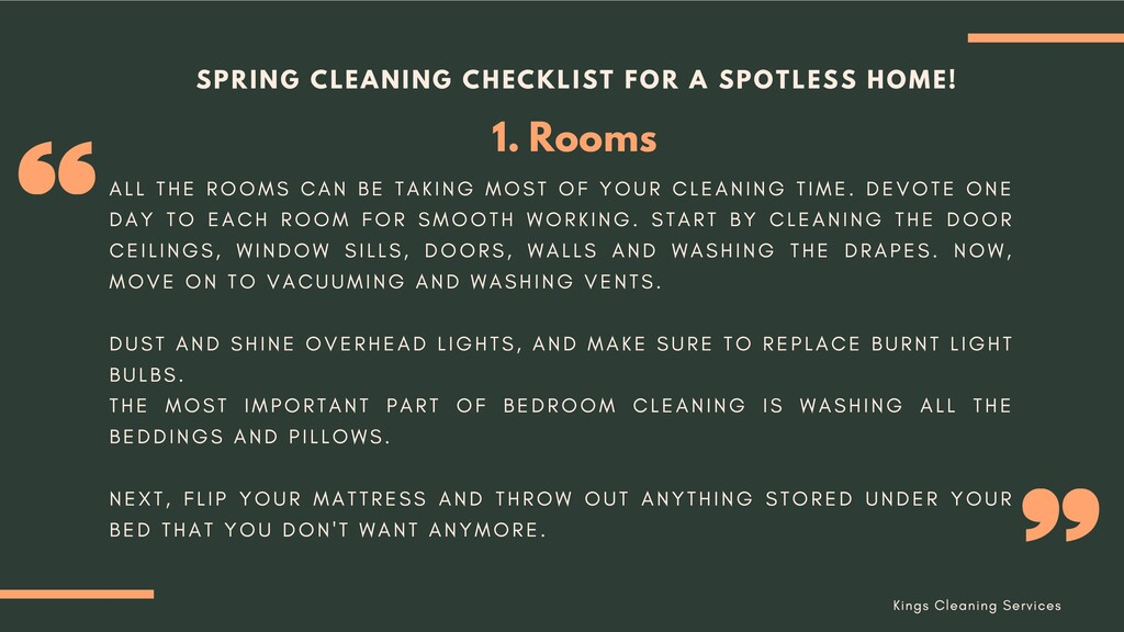 Rooms 1. SPRING CLEANING CHECKLIST FOR A SPOTLE...