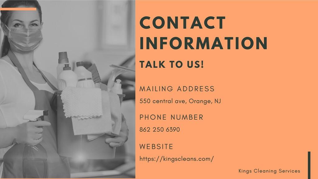 CONTACT INFORMATION TALK TO US! M A I L I N G A...