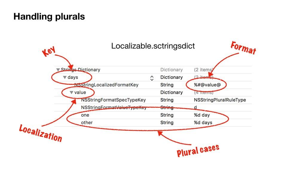 Handling plurals Localizable.sctringsdict Key F...