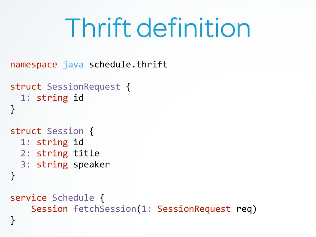 Thrift definition namespace java schedule....