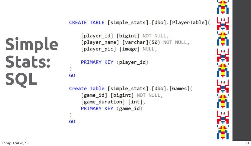 Simple Stats: SQL 31 Friday, April 26, 13