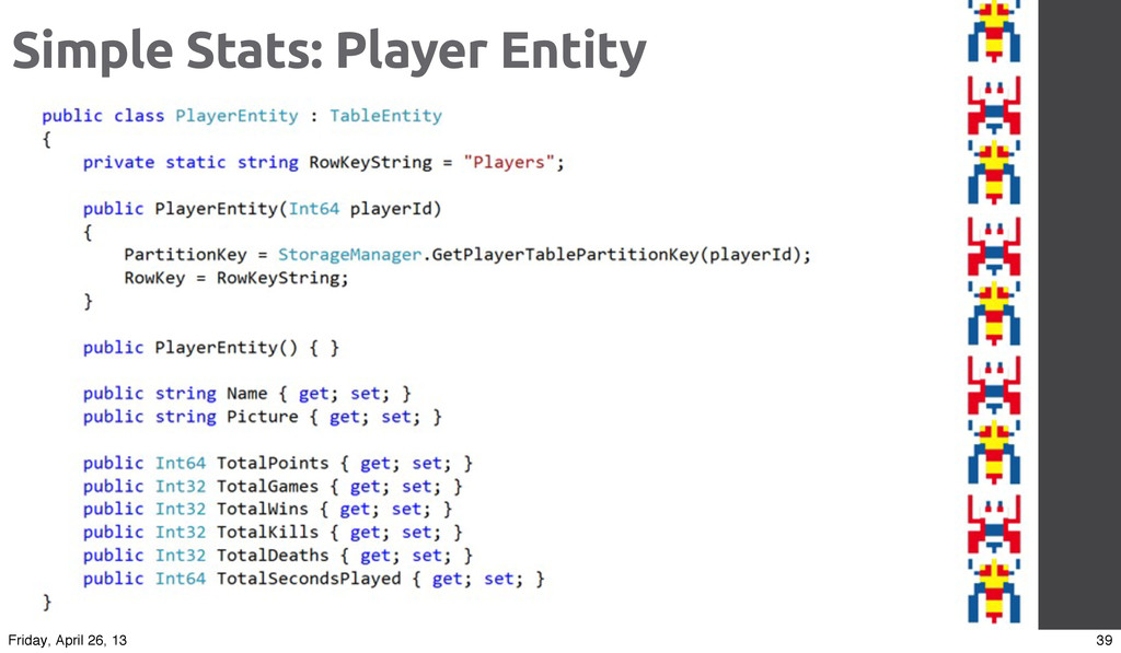 Simple Stats: Player Entity 39 Friday, April 26...