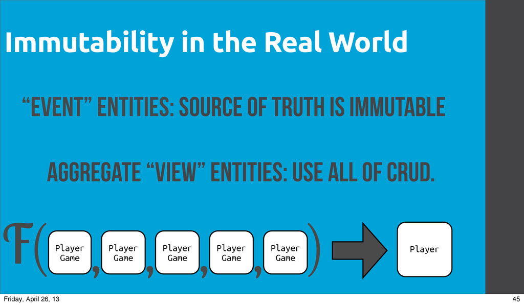 """Immutability in the Real World """"Event"""" Entities..."""