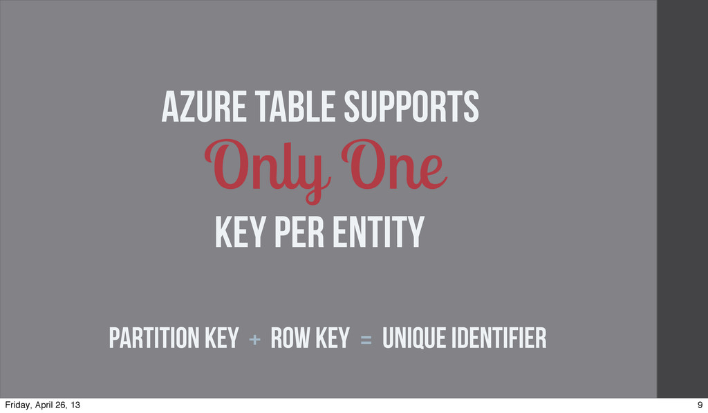 • Only One Partition Key + Row Key = Unique Ide...